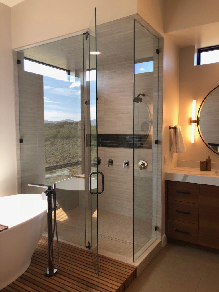 90 degree frameless shower enclosure