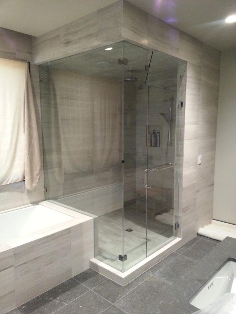 framless 90 degree shower enclosure