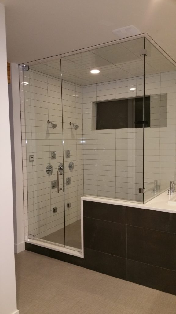 framless 90 degree shower with top and bottom hinges