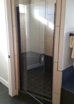 Semi Euro Shower door in oil rubbed bronze with No Header