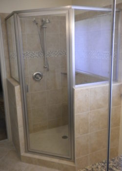 Framed Neo Angle Shower Enclosure In Satin Nickel