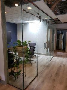 Sliding glass office