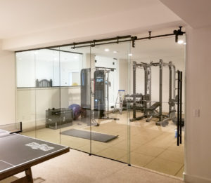 Sliding glass gym wall